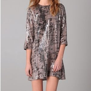Parker Tie Dye Marbled Sequin Silk Shift Dress